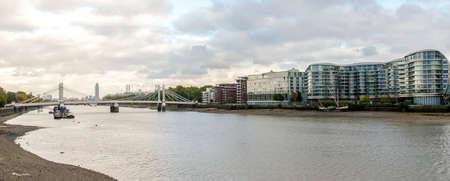 A view of River Thames and Albert Bridge, London, United Kingdom Stock fotó