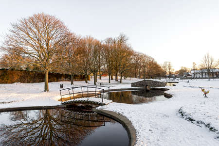 Scenic view of Don river and winter landscape from Seaton Park, Aberdeen, Scotland Stock Photo