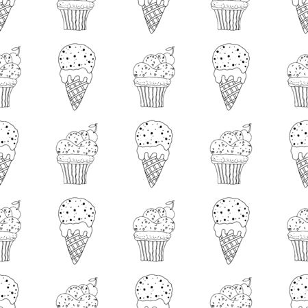 Black and white cupcakes with sprinkles and ice cream in a cone on a white background.Seamless pattern coloring book for kids and adults. Suitable for packaging, fabrics, wallpapers and simple colorings