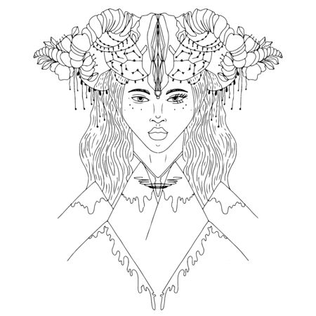 Woman with animal skull on her head. Black and white illustration. Adult coloring book. Illustration for posters and cards .Vector