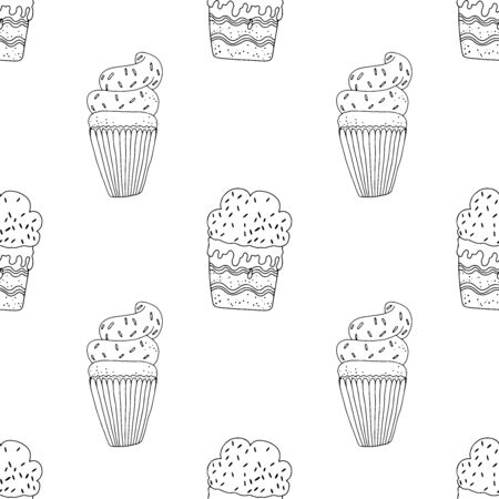 Black and white cupcakes with cream and sprinkles on a white background. Seamless pattern coloring book for kids and adults. Suitable for packaging, fabrics, wallpapers and simple colorings Иллюстрация