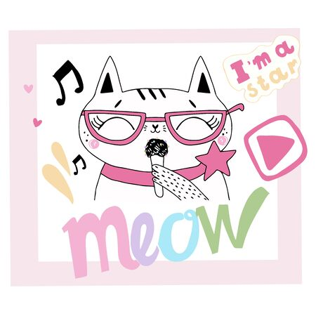 Cute kitty in glasses with a microphone in his paw. Letter meow. Illustration for print on a t-shirt, sticker, postcard. Vector illustration