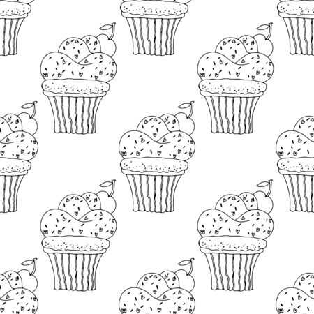 Black and white cupcakes with sprinkles and cherries on a white background .Seamless pattern coloring book for kids and adults. Suitable for packaging, fabrics, wallpapers and simple colorings Иллюстрация