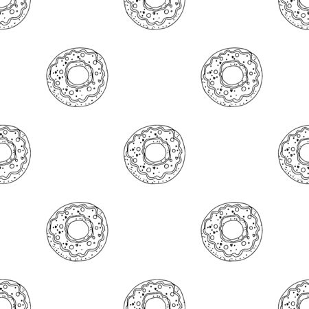 Black and white donuts on a white background. Seamless pattern coloring book for kids and adults. Suitable for packaging, fabrics, wallpapers and simple colorings Иллюстрация