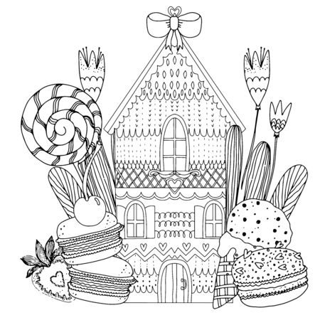 Gingerbread house with sweets, flowers, berries and candies. Black and white illustration. Coloring book for adults and children. Vector illustration.