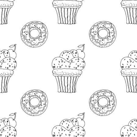 Black and white cupcakes with sprinkles and donuts on a white background. Seamless pattern coloring book for kids and adults. Suitable for packaging, fabrics, wallpapers and simple colorings
