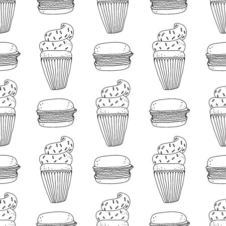 Black and white cupcakes with sprinkles and macaroon cakes on a white background. Seamless pattern coloring book for kids and adults. Suitable for packaging, fabrics, wallpapers and simple colorings Ilustração