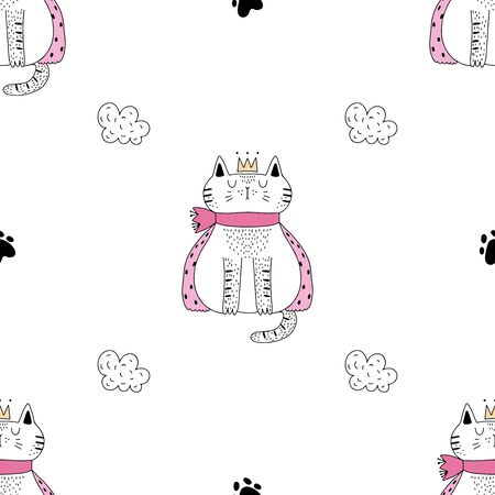 Cute cat with a crown on his head childish texture. Seamless pattern.Great for fabric, textile Vector Illustration and a pink bow on a white background. Иллюстрация