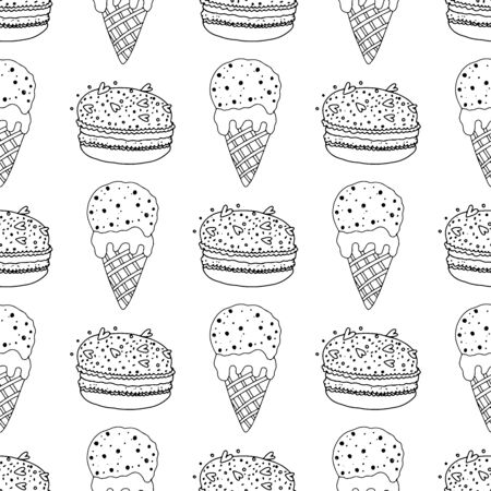 Black and white ice cream in a cone and macaroon cakes with sprinkles on a white background .Seamless pattern coloring book for kids and adults. Suitable for packaging, fabrics, wallpapers and simple colorings Иллюстрация