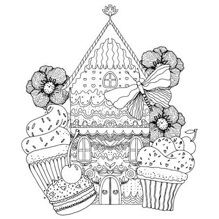 Gingerbread house with sweets, flowers and berries. Black and white illustration. Coloring for adults and children. Vector illustration. Иллюстрация
