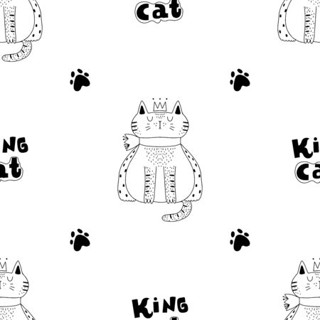 Black and white cat with a crown and a cape and the inscription cat king. Seamless pattern.Creative childish texture. Great for fabric, textile Vector Illustration