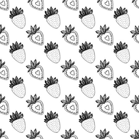 Black and white strawberries on a white background .Seamless pattern coloring book for kids and adults. Suitable for packaging, fabrics, wallpapers and simple colorings Иллюстрация