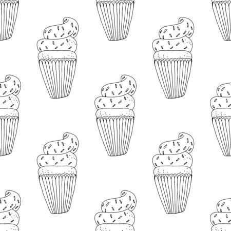 Black-white cupcakes with cream and sprinkles on a white background .Seamless pattern coloring book for kids and adults. Suitable for packaging, fabrics, wallpapers and simple colorings