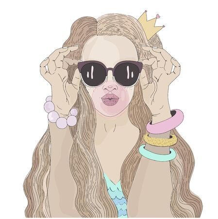 Beautiful girl with a crown on her head and in sunglasses inflates a pink ball of bubble gum. Illustration for posters and postcards. Vector illustration Ilustração