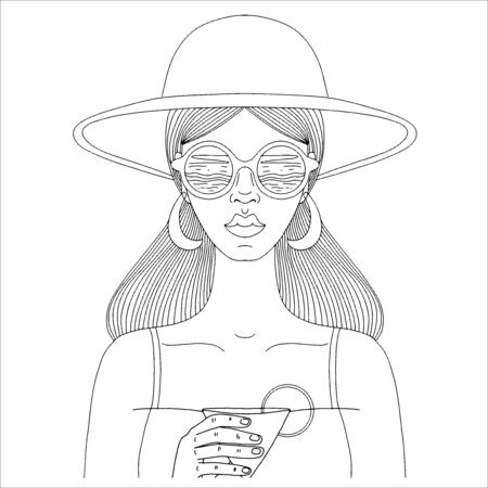 Black and white portrait of a girl in a hat and glasses with a cocktail in her hand. Illustration for posters and cards. Vector illustration.