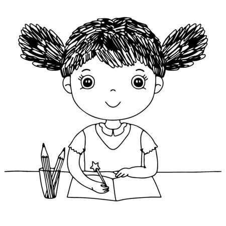 Girl with ponytails sits at the student table and writes. Black and white illustration for a book. Coloring book for children.