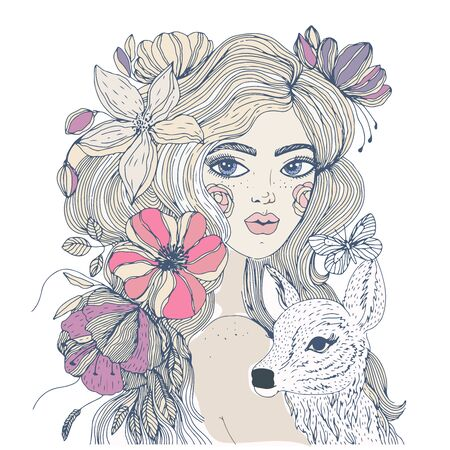 Portrait of a beautiful girl with flowers in her hair .Illustration for posters and cards .Vector illustration. Ilustração