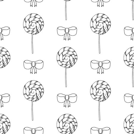 Black and white lollipops and bows on a white background .Seamless pattern coloring book for kids and adults. Suitable for packaging, fabrics, wallpapers and simple colorings