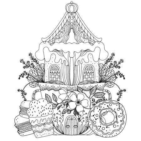 Black and white illustration of a stylized gingerbread house and sweets. Coloring for adults and children. Vector illustration