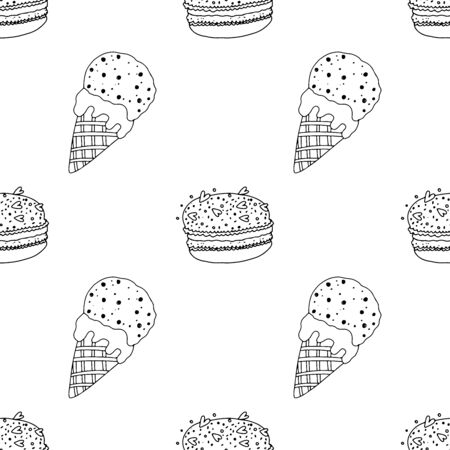 Black and white macaroon cake and ice cream sprinkled on a white background. Seamless pattern coloring book for kids and adults. Suitable for packaging, fabrics, wallpapers and simple colorings
