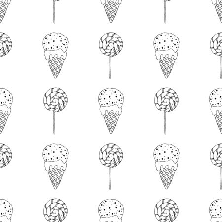 Black and white lollipops and ice cream in a cone on a white background. Seamless pattern coloring book for kids and adults. Suitable for packaging, fabrics, wallpapers and simple colorings Иллюстрация
