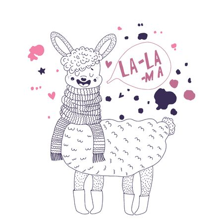 Cute lama on a white background around splashes. The inscription la - lama. Illustration for t-shirt prints, stickers and cards . For apparel or other uses Vector illustration. Çizim