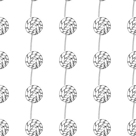 Black and white lollipops on a white background.Seamless pattern coloring book for kids and adults. Suitable for packaging, fabrics, wallpapers and simple colorings