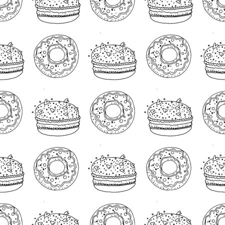 Black and white donuts and macaroon cakes on a white background. Seamless pattern coloring book for kids and adults. Suitable for packaging, fabrics, wallpapers and simple colorings