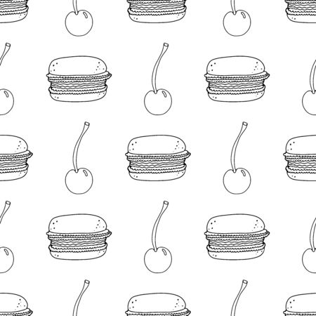 Black and white macaroon cakes with cherry on a white background. Seamless pattern coloring book for kids and adults. Suitable for packaging, fabrics, wallpapers and simple colorings