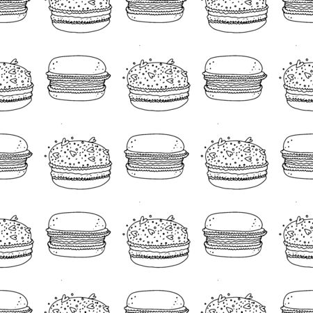 Black and white macaroon cakes on a white background. Seamless pattern coloring book for kids and adults. Flower prick painted by hand. Suitable for packaging, fabrics, wallpapers and simple colorings