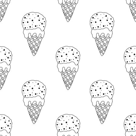 Black and white ice cream in a cone with sprinkles on a white background. Seamless pattern coloring book for kids and adults. Suitable for packaging, fabrics, wallpapers and simple colorings