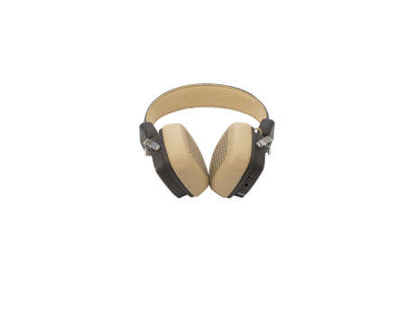 Soft brown and beige wireless headphones isolated on white background. Bluetooth earphones.