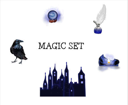 Halloween realistic set with various objects isolated on white background. Vector illustration set of magic icons for your design. Design set of magic objects for Halloween, Wicca, Witchcraft, esoteric, divination and occult. Stock Vector - 131579618