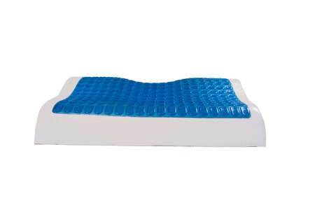 Orthopedic pillow from latex with memory and cooling effect, hydro gel layer. Medical treatment pillow for sleep under the head with a recess under the neck isolated on white background.