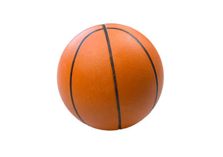 Basketball isolated on a white background. Sports game equipment. Orange round ball.