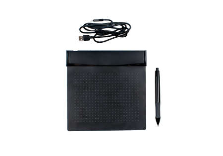 Graphic digital tablet with pen for illustrators and designers, isolated on a white background.