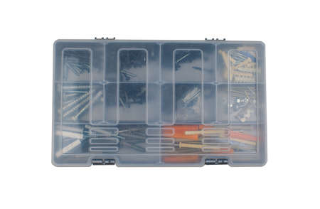 Different screws and nails in the box. Maintenance, reparing concept. Case with small construction objects. Isolated tool box on a white background.