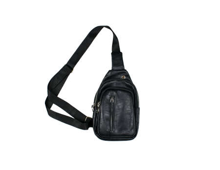 A unisex black leather bag or backpack with pocket and zippers isolated on a white background. Stockfoto