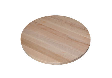 Round wooden cutting board isolated on a white background. Empty pizza or food board. Stok Fotoğraf