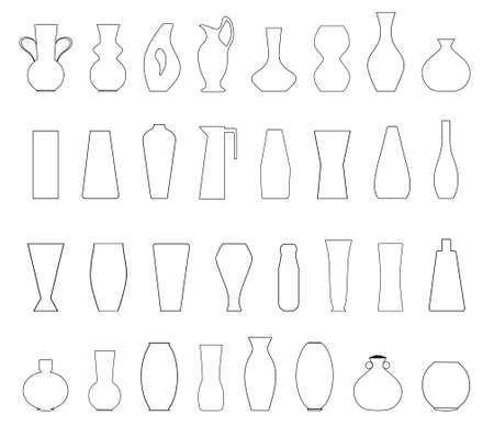 Set of silhouettes of vases isolated on white background. Collection of ceramic, glass jugs. Vector silhouettes of pottery, jars, bowls and vases.