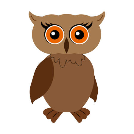 Colorful Filin Owl brown Bird cartoon. Outlined vector illustration icon. Flat style. Logotype or for coloring antistress. Illusztráció