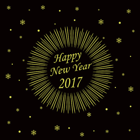Happy New Year Card with Starburst. Vector illustration Ilustrace