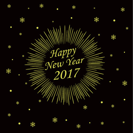 gaiety: Happy New Year Card with Starburst. Vector illustration Illustration