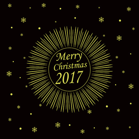 Merry Christmas Card with Starburst. Vector illustration Ilustrace