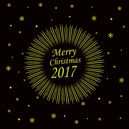 gaiety: Merry Christmas Card with Starburst. Vector illustration Illustration