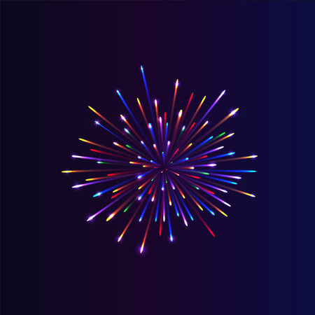 Abstract firework bursting. brightly colorful firework on night background