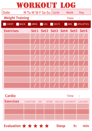 personal training: Fitness diary, workout log, training diary for ypu personal plan exercises