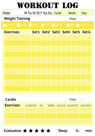 Fitness diary, workout log, training diary for ypu personal plan exercises