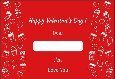 Valentines Day poster present and romantic card