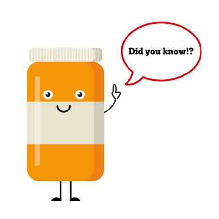 says: Happy pills and tablets on a blue background, medication with emotion and eyes, smile, happiness. Vector image. Attention. Dialog window. Tablet says